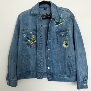 Bird & Star Print Embroidered Jean Jacket